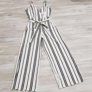 NEW Bailey Blue V-neck Striped Wide Leg Ju…